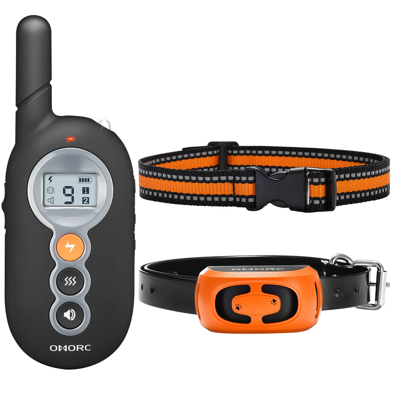 OMORC Dog Training Collar, 2019 Remote Wake Up Dog Shock Collar with 3 Training Mode, Beep, Vibration and Shock, 100 Waterproof Training Collar Up to 1000Ft Remote Range