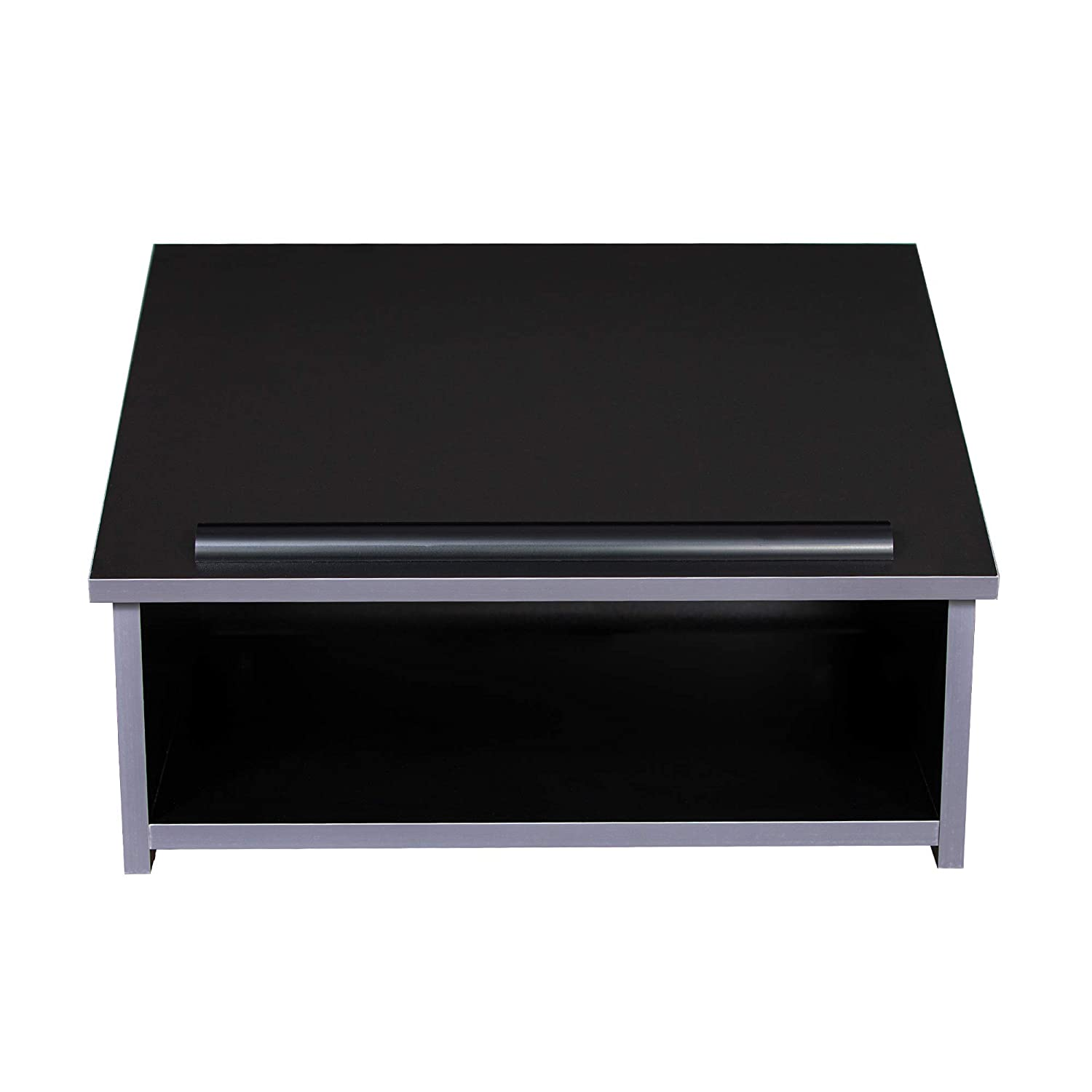 OEF Furnishings Portable Tabletop Lectern with Bookstop and Storage Shelf Black