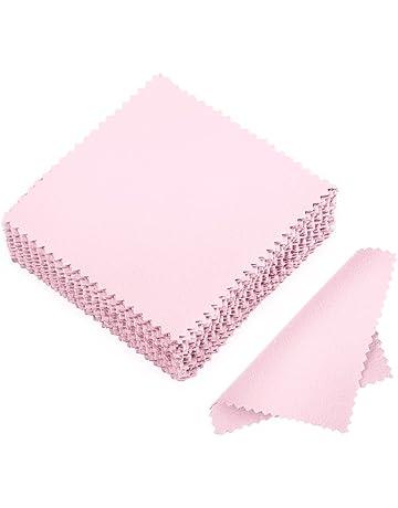 juanya 50pcs joyería gamuza de limpieza paño de pulido de plata de ley dorado Platinum rosa