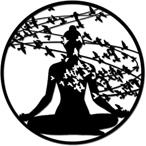 Yoga Art Wall Decor Abstract Woman with Birds Design Metal Wall Sculpture Zen Life Hanging Art for Home Bedroom Yoga Room Peace Wall Decoration Gift Piece