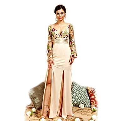 115d7fc4eee62 Crazy4Bling Soieblu, Long Sleeve Embroidered Floral Bodice Wide Neck ...