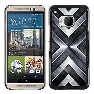 TopCaseStore / la caja del caucho duro de la cubierta de protección de la piel - Chevron Metal Brushed Shiny - HTC One M9