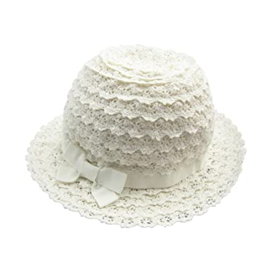 07fac0f4a29bd Amazon.com: Baby Toddler Girls Floral Lace Bucket Hat Ventilated Beach Sun  Hat with Bowknot: Clothing