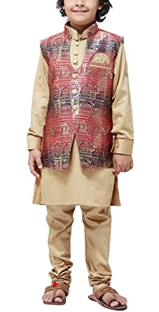 139032d76 Sojanya (Since 1958), KIDS Brown Silk Blend Kurta Pyjama and Nehrujacket  COMBO,