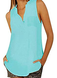 2f701c24e0362 OUR WINGS Womens Casual Solid Button Loose V Neck Sleeveless Chiffon Blouse  Top