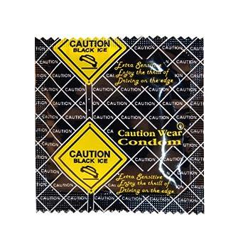 Caution Wear Condoms - Black Ice (12 Pack)