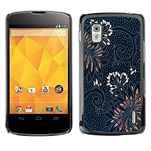 MOBMART Carcasa Funda Case Cover Armor Shell PARA LG Nexus 4 E960 - Blossoming Of Dotted Flowers