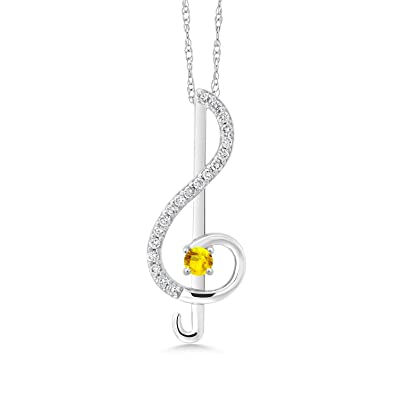 0.50ct IJK Created Moissanite DEW Gem Stone King 18K Yellow Gold Plated Silver Pendant Timeless Brilliant Round