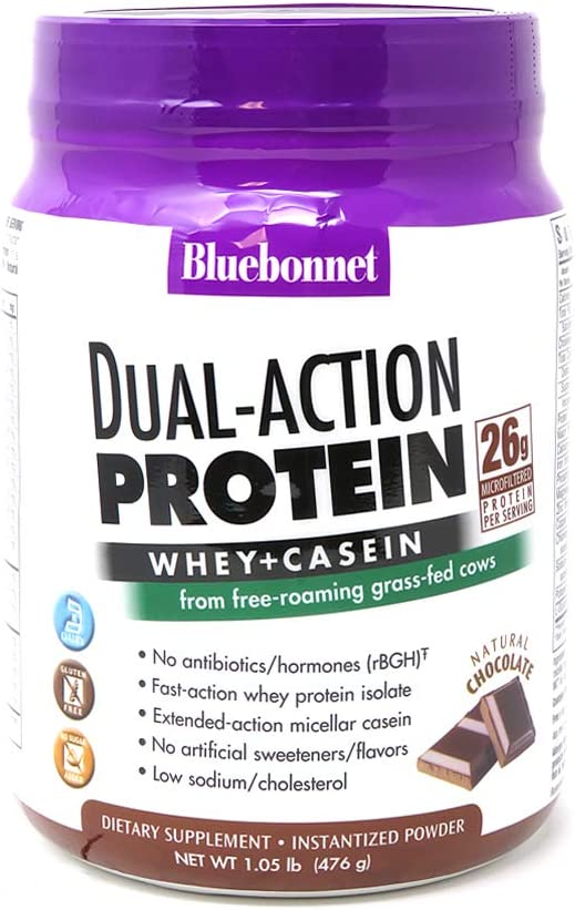 Bluebonnet Nutrition Dual-Action Protein Powder, Whey from Grass Fed Cows, 26 Grams of Protein, No Sugar Added, Non GMO, Gluten Free, Soy Free, Kosher Dairy, 1.05 lbs, 14 Servings, Chocolate Flavor