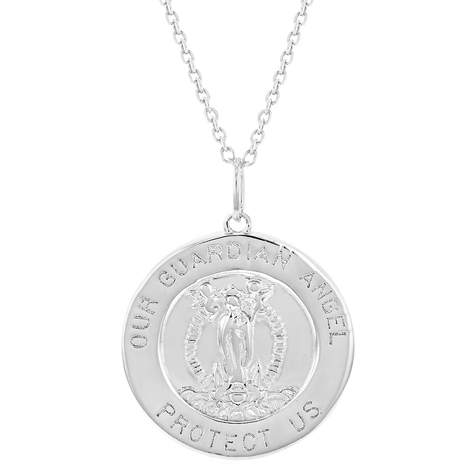 925 Sterling Silver Guardian Angel Round Medal Religious Pendant Necklace 18""