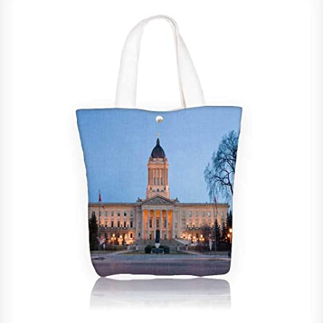 Review Canvas Zipper Tote Bag Printed manitoba legislative build at dusk in winnipeg manitoba canada Reusable Canvas Zipper Tote Bag Printed 100% Cotton W16.5xH14xD7 INCH