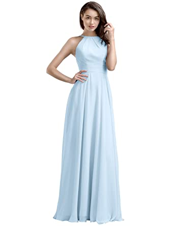 AWEI BRIDAL A-Line Long Bridesmaid Dress Chiffon Prom Dress with Round Neck, Baby