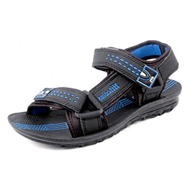 2a8155e7a416 Hitcolus Men s Blue Synthetic Leather Floater Sandals (PU-1622) - 10 ...