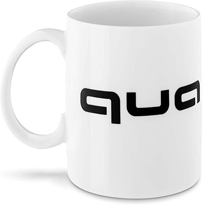 Audi 3291800700 Original Quattro Porcelain Coffee Mug White Black Auto