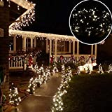 GESIMEI 100M 500LED Dark Green Cable String Light Indoor/Outdoor Waterproof Low Voltage Copper Wire Fairy Lighting for Christmas Wedding Party Garden Yard Tree (WarmWhite)
