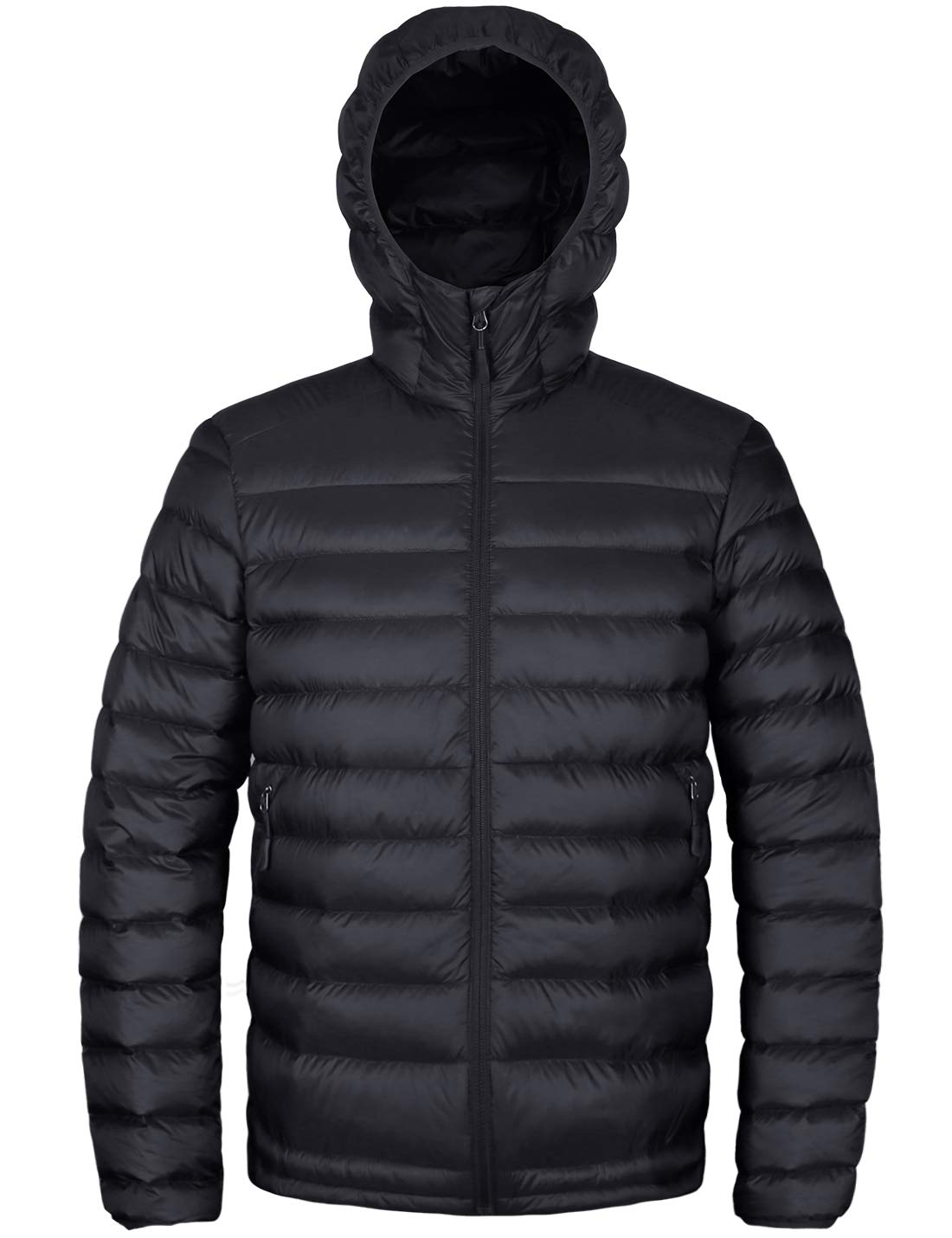 573dc0734 HARD LAND Men's Hooded Packable Down Jacket Lightweight Insulated Winter  Puffer Coat Outdoor Black Size L