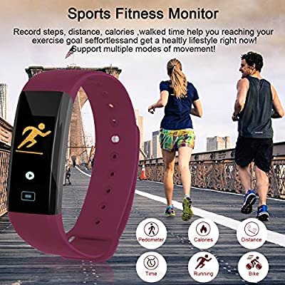 Fitness Tracker,Kirlor New Version Colorful Screen Smart Bracelet with Heart Rate Blood Pressure Blood oxygen Monitor,Smart Watch Pedometer Activity Tracker Bluetooth for Android & IOS(Purple)