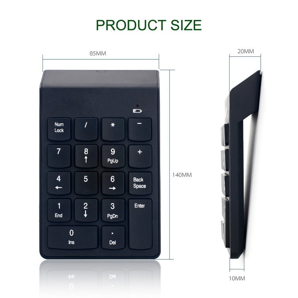 Sumger Numeric Keypad 2.4G wireless Keyboard Mini Portable 18 Keys Number Pad Financial Accounting Keypad with USB Receiver wireless for iMac,MacBook,MacBook Air,MacBook Pro,Laptop with AAA Battery by Sumger (Image #3)