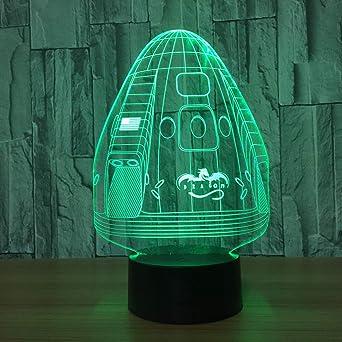 Kinder Tisch Lampe Rakete Nachtlicht Deko Kinderzimmer Jungen grün Licht Leuchte