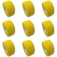 Juego de 9 vendas para dedos   vendaje de yeso   yeso sin pegamento – en amarillo – 2,5 cm x 4,5 m – elástico, repelente…