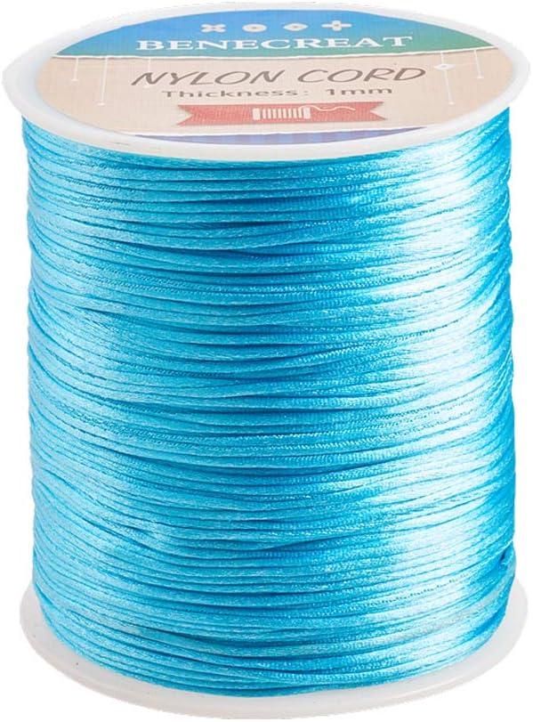 BENECREAT 200m 1mm Cordón de Seda para Collar Pulsera Cuerda de Seda de Cuentas Cuerda de Reborde para Joyería Turquesa Pálido