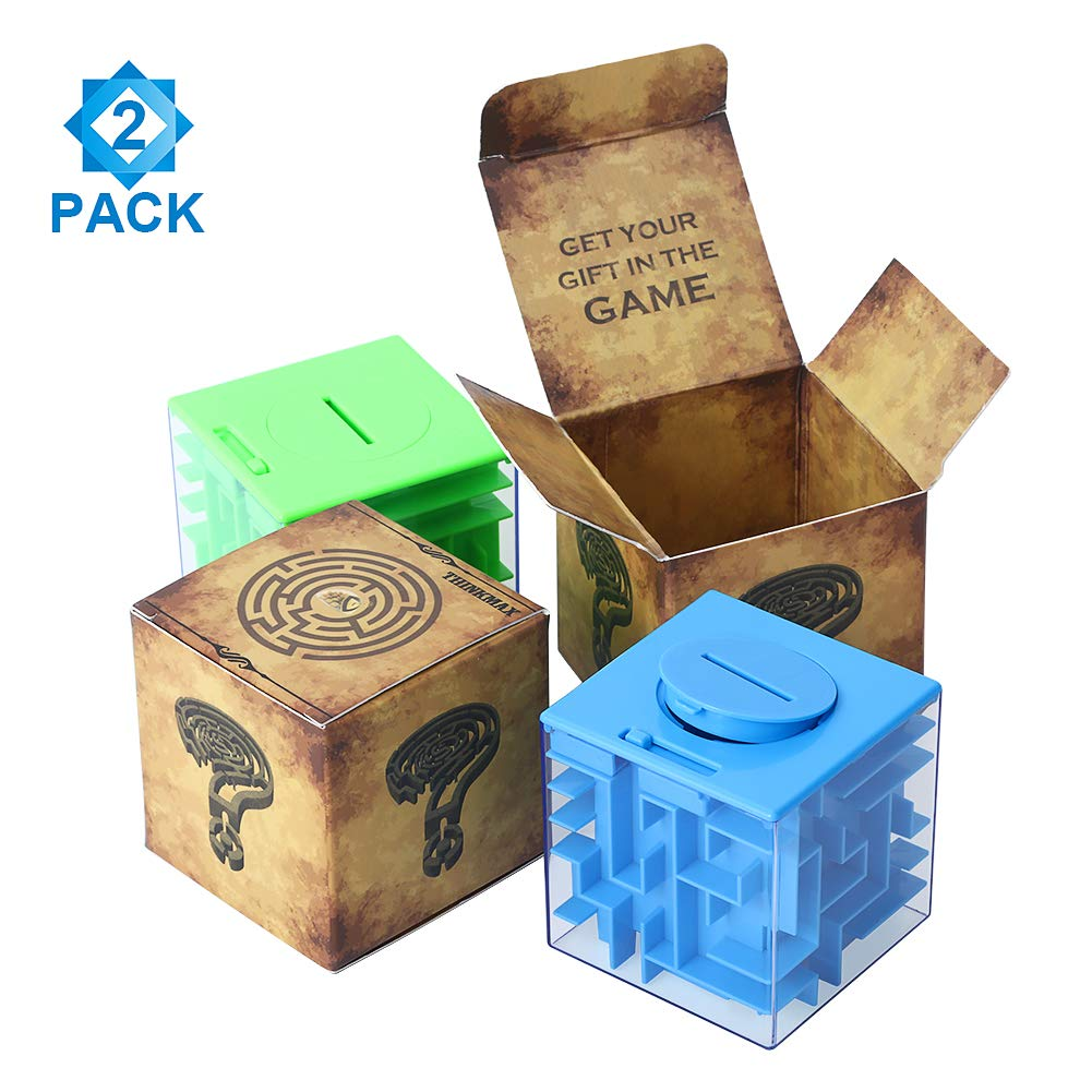ThinkMax Money Maze Puzzle Box, Perfect Puzzle Money Holder and Brain Teasers for Kids and Adults (2 Pack) by ThinkMax