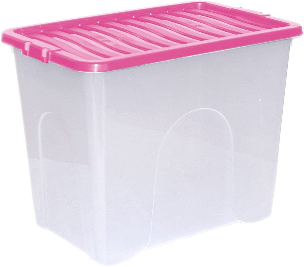 5 x CrazyGadget® 80L 80 litros Extra grande de plástico caja fuerte contenedor apilable con claro color tapas - en el Reino Unido de fabricación.: Amazon.es: Hogar