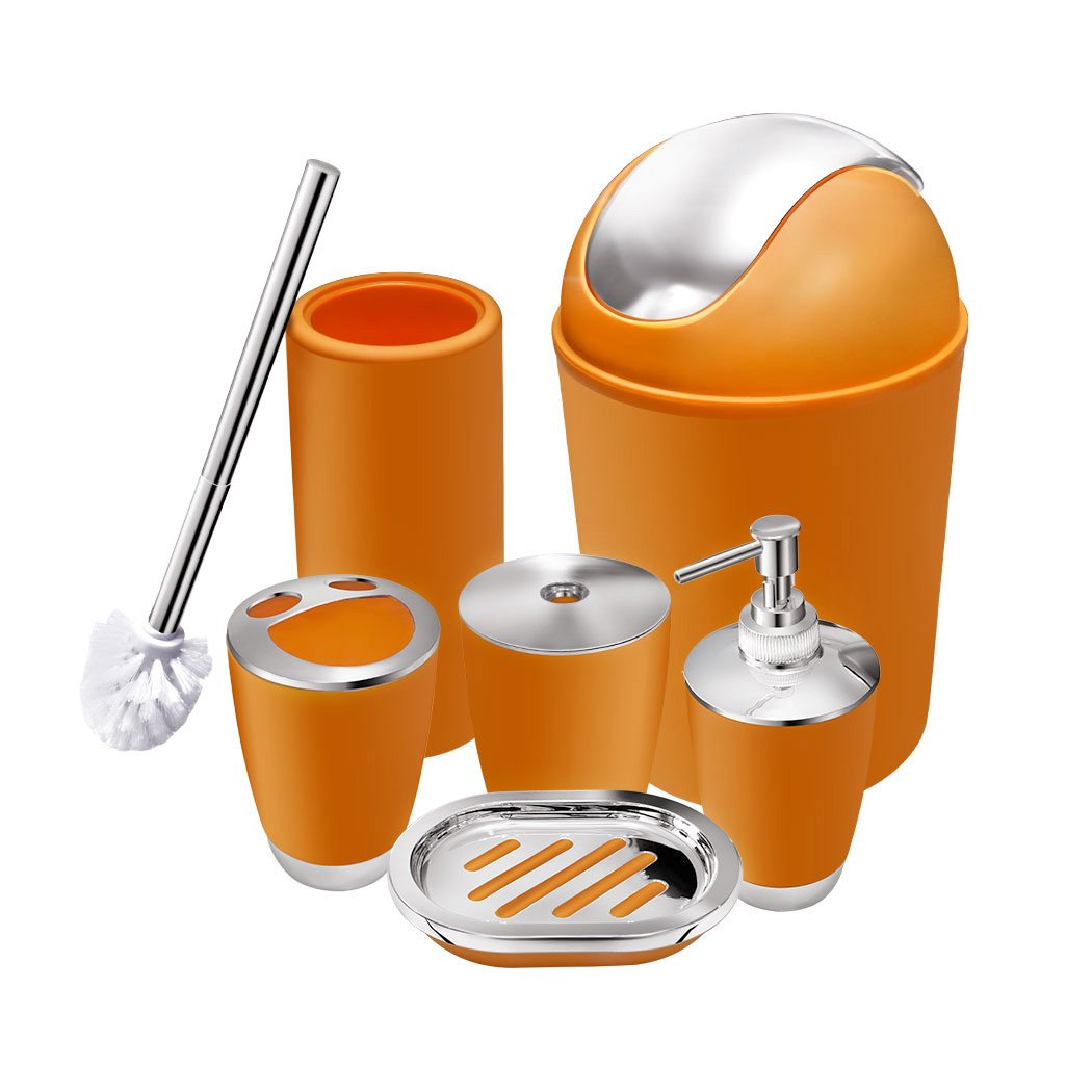 6 Piece Bathroom Accessories Set,Plastic Bath Ensemble Bath Set Lotion Bottles, Toothbrush Holder, Tooth Mug, Soap Dish, Toilet Brush, Trash Can (orange)