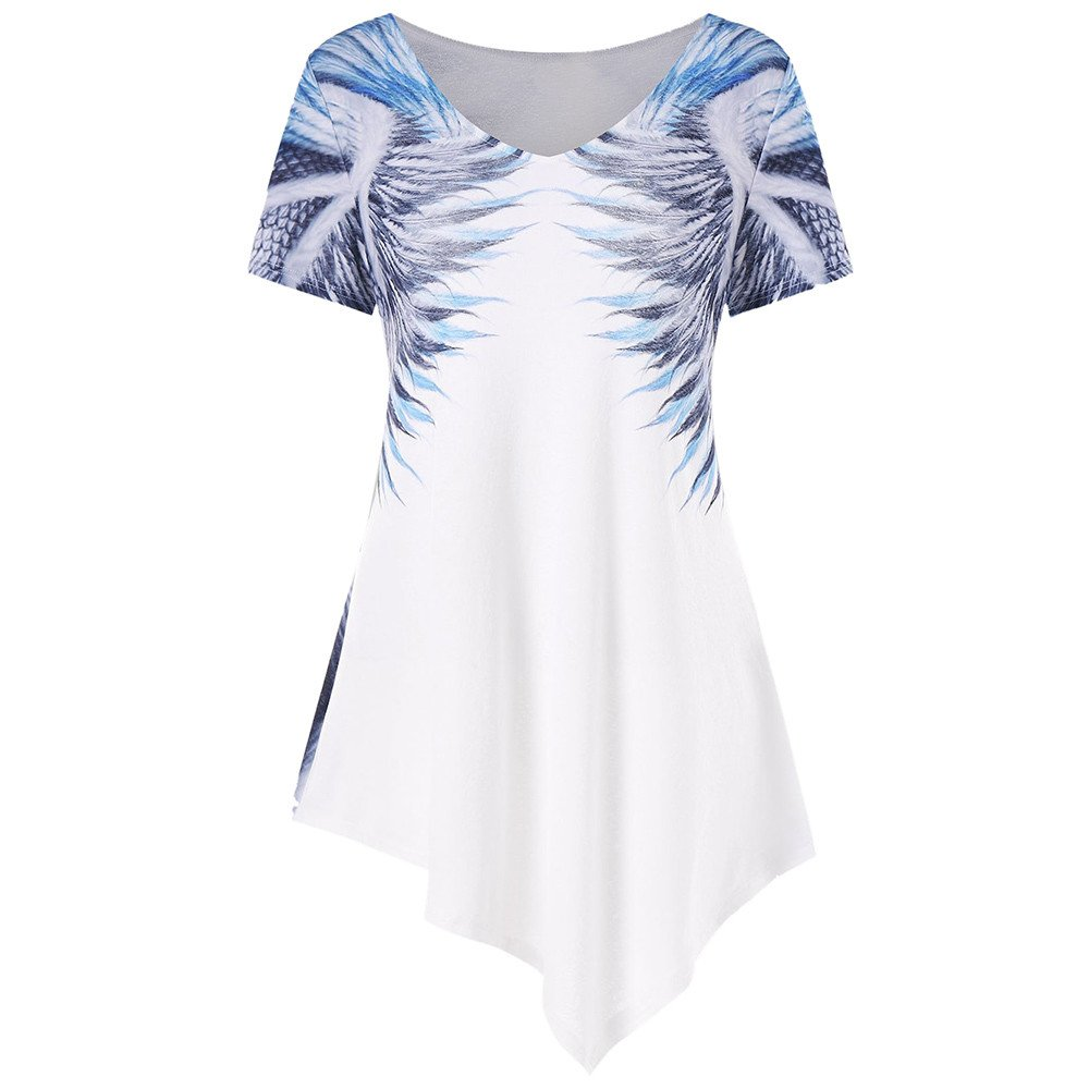 154fe3f6759 Amazon.com: Peize Fashion Womens Short Sleeve V Neck Printed Asymmetrical  Hem Fashion Summer T-Shirt Tops Blouse: Clothing