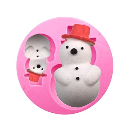 Cosanter Forma de Muñeco de nieve de navidad, Molde de jabón hecho a mano de