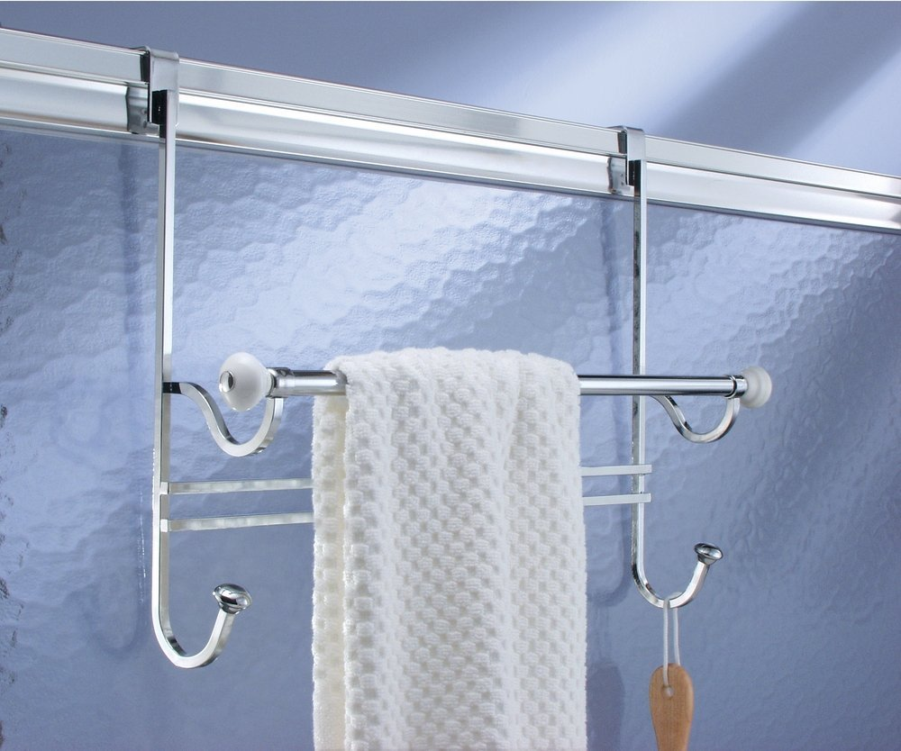 Attirant Amazon.com: MDesign Bathroom Over Shower Door Towel Bar Rack With Hooks    White/Chrome: Office Products