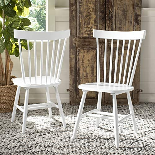 Safavieh American Homes Collection Parker Country Farmhouse White Spindle Side Chair Set of 2