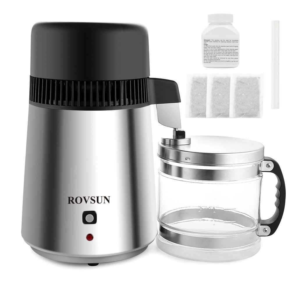 ROVSUN Stainless Steel Countertop Water Distiller Machine 4L Fully Upgraded Home Pure Water Purifier Filter, 750W Distilled Water Maker with Glass Container, 1L/h 5 Bonus Gifts FDA& CE Listed