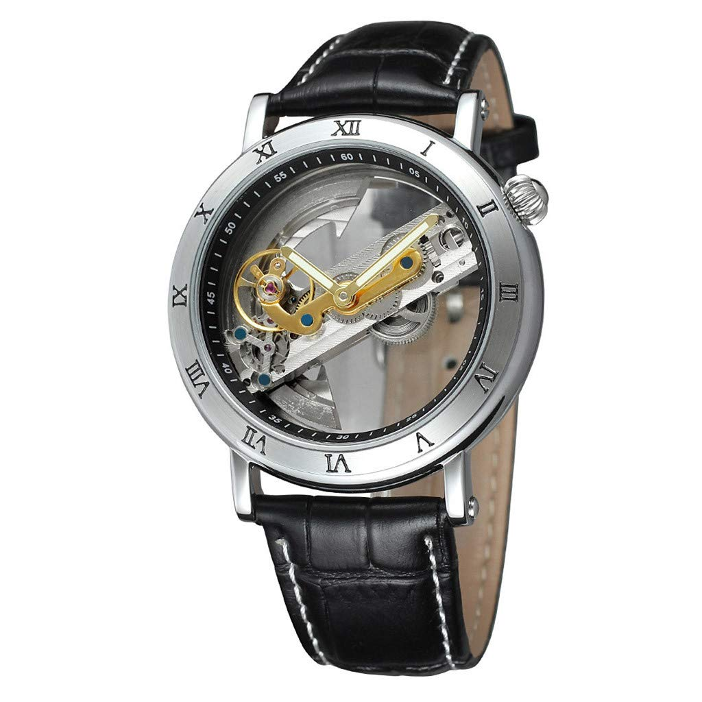 Hollow Quality Movement Business Fashion Men Leather MechanicalQuartz Casual Simple Chronograph Watch
