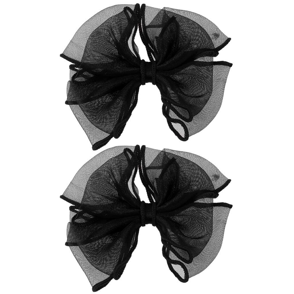 Simdoc 2pcs Shoe Decoration, Gauze Bowknot Shoe Clips Buckles DIY Shoe Accessories Handmade Craft For Clothes Bags Hats