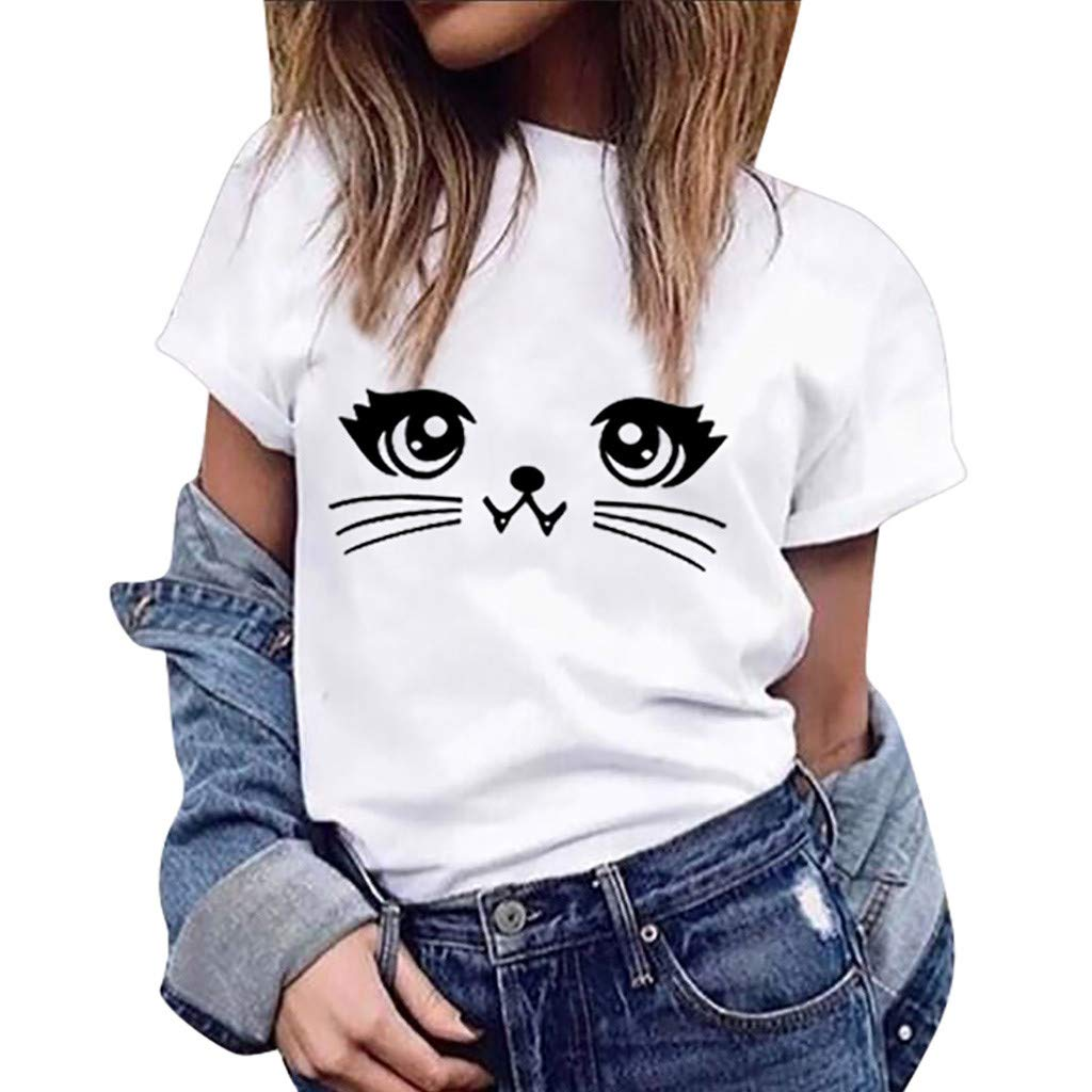 WOCACHI Blouses for Womens, Womens Summer Cute Cat Print Tops Short Sleeve T-Shirts Blouse Trendy Tee Cool Sleep Smile Long Sleeve Sleeveless Strap Fashion Bottoming
