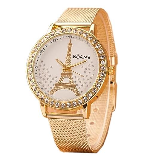 Tongshi De malla de acero Ladies Torre de Cristal de Oro inoxidable banda reloj de pulsera: moda: Amazon.es: Relojes