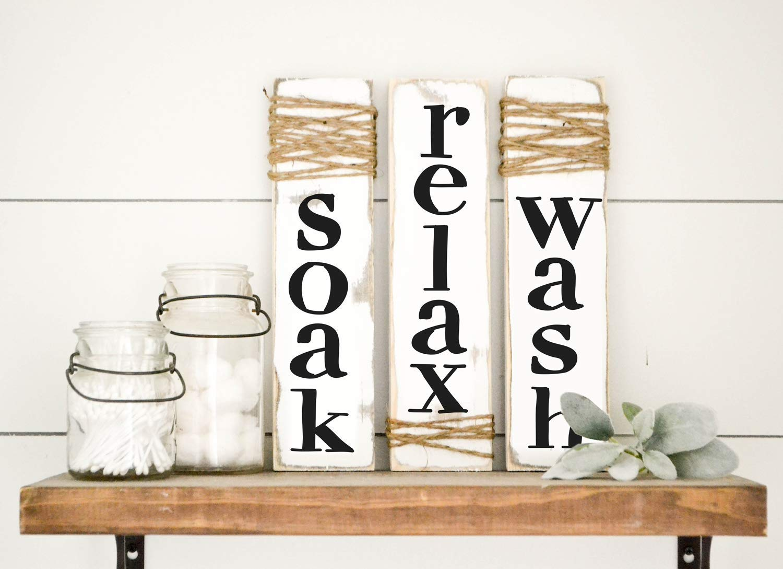 Farmhouse Bathroom Decor Whitewash Wood Sign Set of Three Rustic Sign Soak Wash Relax