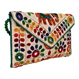 Rajasthani Jaipuri Art Sling Bag Foldover Clutch Purse (Green With Golden Front)- Quality Checked