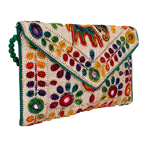 (Rajasthani Jaipuri Art Sling Bag Foldover Clutch Purse (Green With Golden Front)- Quality Checked)