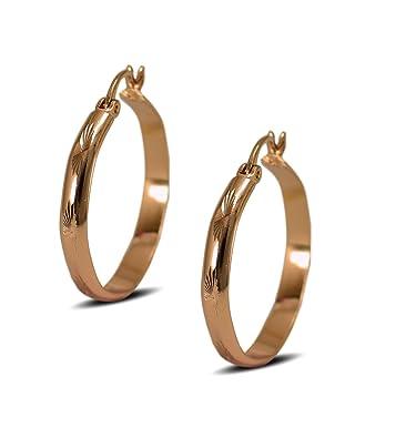 Creole Hoop Earrings For Women 18ct Rose Gold Filled Diamond Cut Pattern J4WJ6WC88