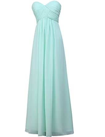 d48877d1699 Kevins Bridal Women s Sweetheart Chiffon Bridesmaid Dress Pleated Long Cocktail  Dress Aqua Size 2