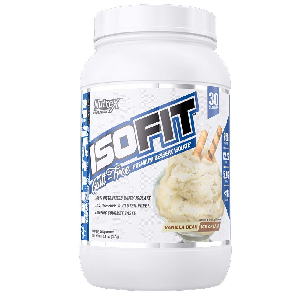 Nutrex Research IsoFit | 100% Instantized Whey Protein Isolate | Lactose-Free, Gluten-Free | Vanilla Bean Ice Cream | 30 Servings by Nutrex Research