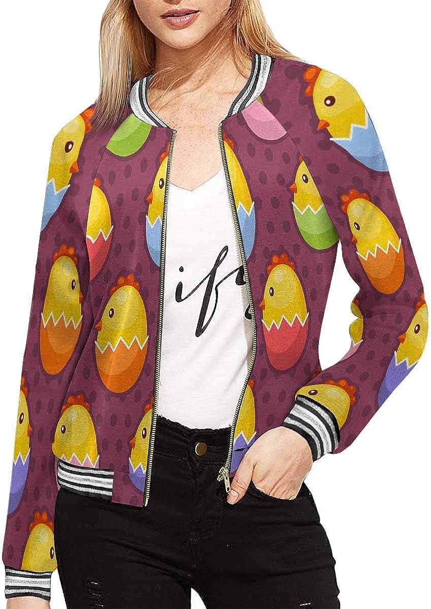 INTERESTPRINT Womens Easter Background with Chicks in Easter Eggs Baseball Jacket Coat