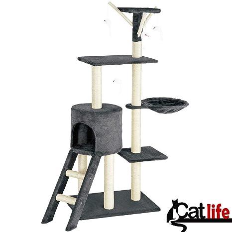 BAKAJI Rascador para Gatos Árbol para Gatos Sisal Parque Juegos Juegos X Gato Tira arañazos para