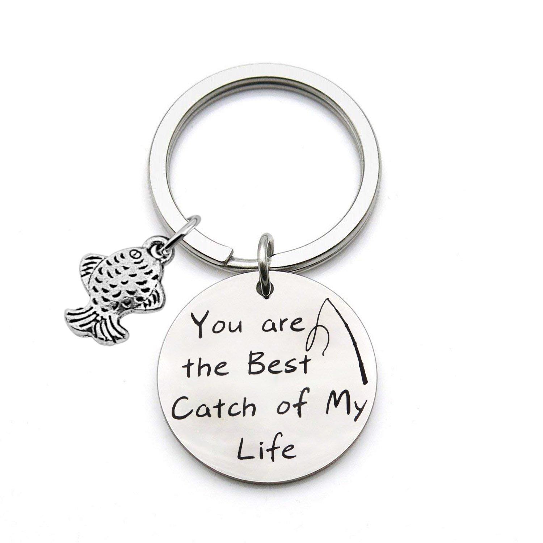 Zuo Bao Fishing Lure Jewelry My Best Catch Was You Fisherman Gifts Funny Keychain For Husband Boyfriend (Fishing keyring)