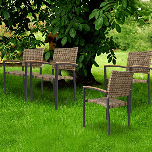 KARMAS PRODUCT 4 Pack Outdoor Patio All Weather PE Wicker Dining Chairs with Aluminum Alloy Frame,Stackable Rattan Bistro Cafe Balcony Backyard Armchair Set (Brown)