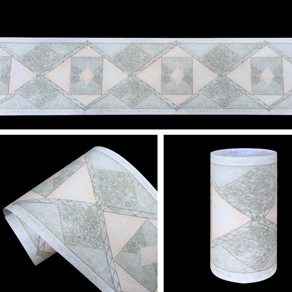 SimpleLife4U Geometric Design Diamond Wallpaper Border Peel & Stick Wall Covering Kitchen Bathroom Bedroom Tiles Decor Sticker