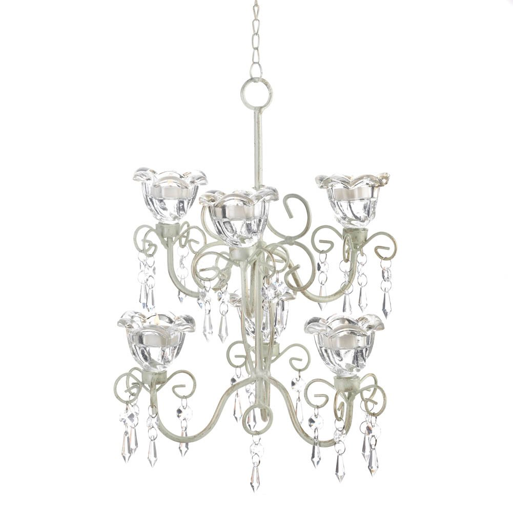 Ivory Double-Tier Candle Chandelier by SLC