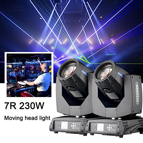 2Pcs/lot Upgraded Rainbow Effect 7R 230W Moving Head Light with Flight Case,Sharpy Beam For Easter Birthday DJ Disco KTV Bar Event Party Show (2Pcs with Flight Case)